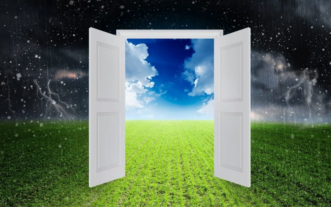 a doorway to clear skies representing the path to opinion vs. input