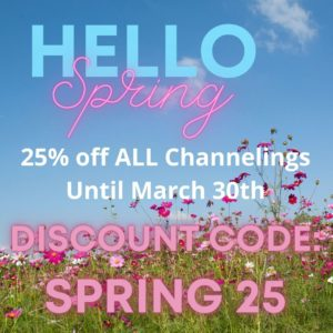 Coupon code for 25% off a channeling in March 2021