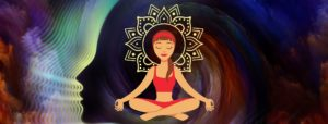 Woman meditating with image of woman's head behind her representing integrate your higher self