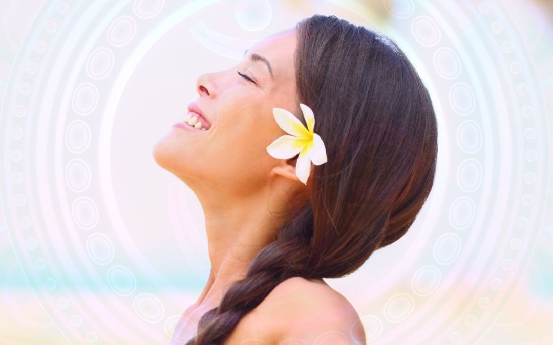 smiling woman representing her higher self being channeled